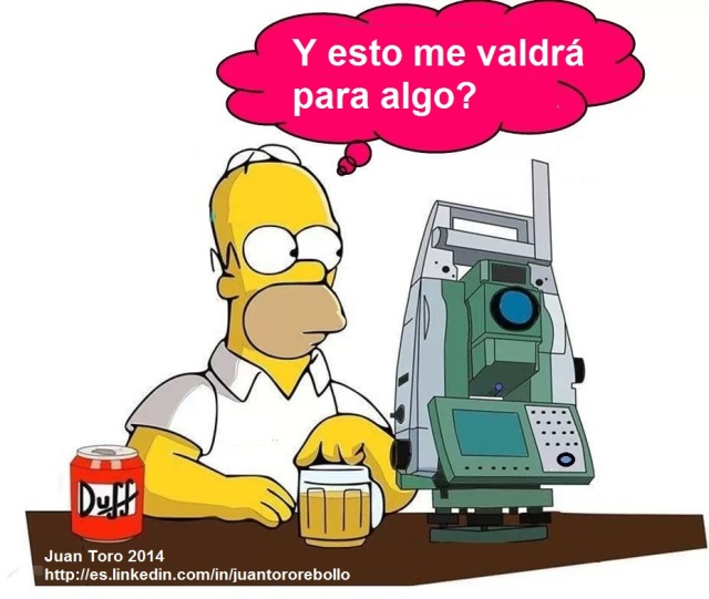 Homer Simpson y una Estación Total